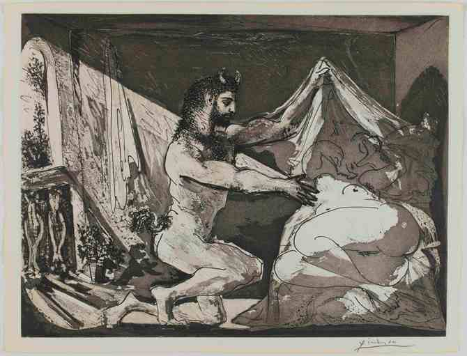 Faun uncovering a sleeping nude figure reclining on a bed; plate 27 of the Vollard Suite (VS 27). 12 June 1936, Etching and aquatint. Pablo Picasso (1881 - 1973). Copyright of Succession Picasso/DACS 2011