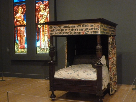 Installation shot of William Morris's Bed Courtesy Society of Antiquaries of London, and Kelmscott Manor