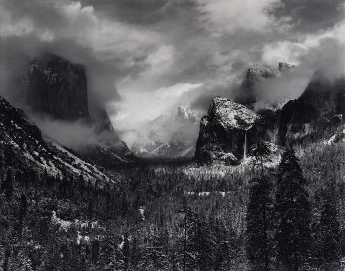 Clearing Winter Storm, Yosemite National Park, California, about 1940–42Gelatin silver printImage: 24 x 31 in. (60.9 x 78.74 cm); Frame: 26 x 46 in. (66.1 x 116.8 cm)Collection of David H. Arrington, AA/1555© 2011 The Ansel Adams Publishing Rights Trust