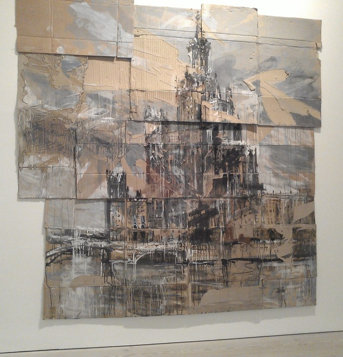 Installation view of Valery Koshlyakov High-rise of Raushskaya Embankment (2006) Tempura on cardboard