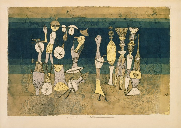 Paul Klee 1879-1940 Comedy 1921 Watercolour and oil on paper support: 305 x 454 mm on paper, unique Tate. Purchased 1946