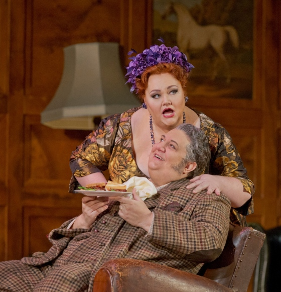 """Stephanie Blythe as Mrs. Quickly and Ambrogio Maestri in the title role of Verdi's """"Falstaff.""""   Photo: Ken Howard/Metropolitan Opera"""