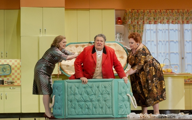 """Jennifer Johnson Cano (left) as Meg Page, Ambrogio Maestri in the title role, and Stephanie Blythe as Mrs. Quickly in Verdi's """"Falstaff.""""   Photo: Ken Howard/Metropolitan Opera"""
