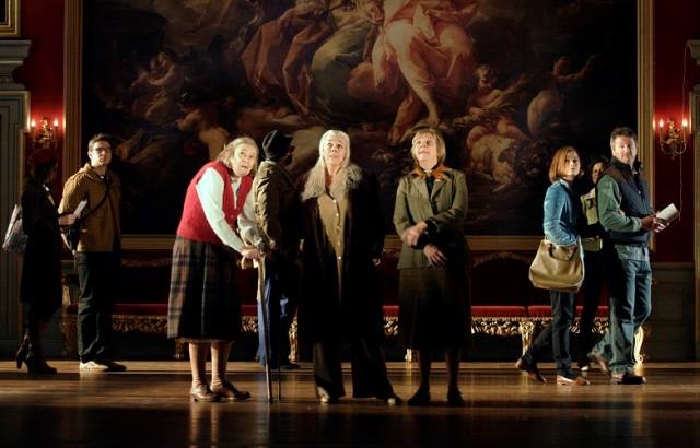A scene from People – centre stage Linda Bassett as Iris,  Frances de la Tour as Dorothy and Selina Cadell  as June