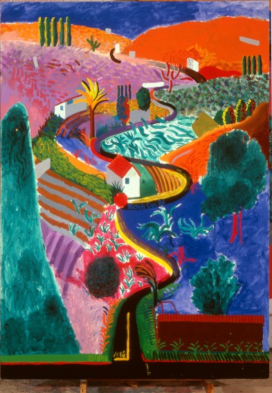 """NICHOLS CANYON"" 1980ACRYLIC ON CANVAS 84 X 60"" © DAVID HOCKNEY"