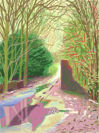 David HockneyThe Arrival of Spring in Woldgate, East Yorkshire in 2011 - 2 January iPad drawing printed on paper 144.1 x 108 cm; one of a 52-part work
